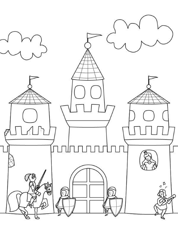 Castillo: dibujo para colorear e imprimir