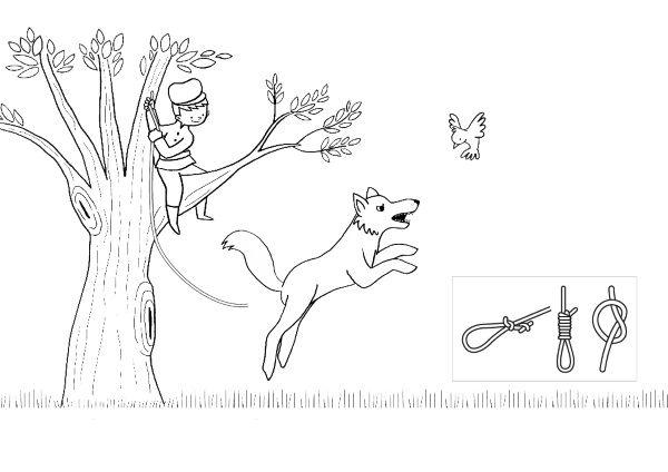 Pedro y el lobo: dibujo para colorear e imprimir