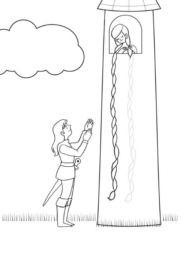 Rapunzel: dibujo para colorear e imprimir
