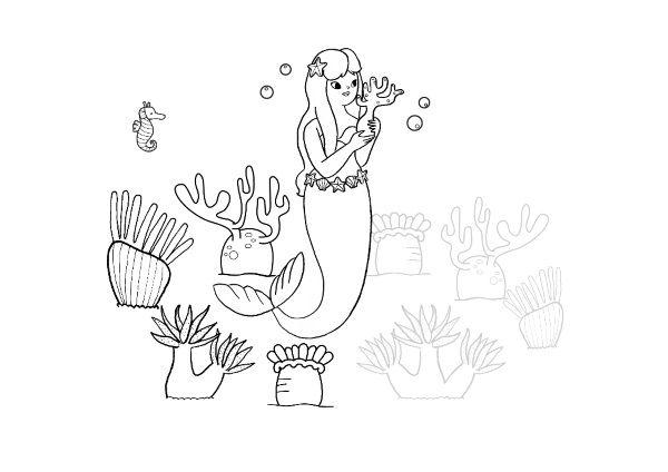 La Sirenita: dibujo para colorear e imprimir