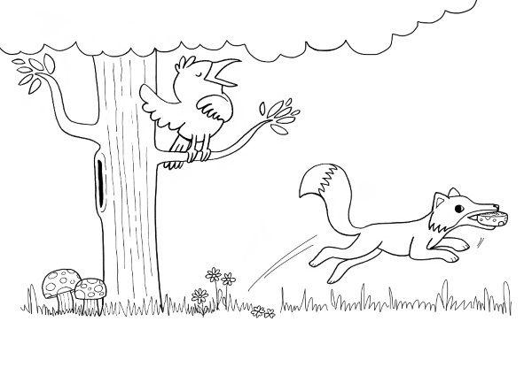 El cuervo y el zorro: dibujo para colorear e imprimir