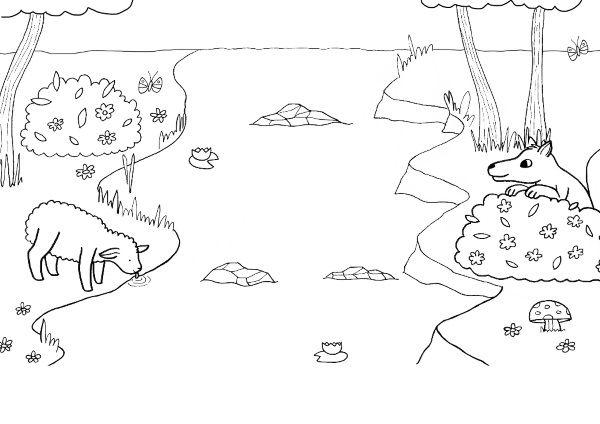El Lobo Y El Cordero Dibujo Para Colorear E Imprimir