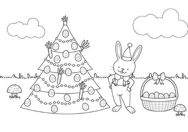 Árbol de Navidad y conejo de Pascua: dibujo para colorear e imprimir
