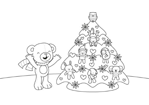 Dibujos Para Colorear Navidenos Imprimir: Un Osito Y Su árbol De Navidad: Dibujo Para Colorear E