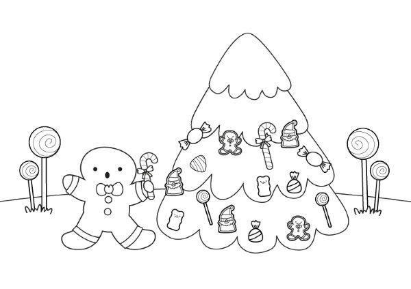 Hombre de jengibre y árbol de Navidad: dibujo para colorear e imprimir