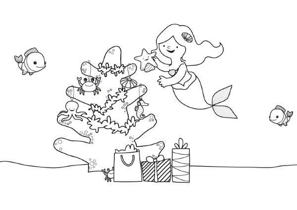 la sirenita y su rbol de navidad dibujo para colorear e imprimir