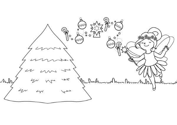 el hada y su rbol de navidad dibujo para colorear e imprimir