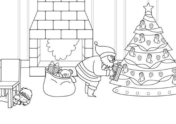 Papá Noel y el árbol de Navidad: dibujo para colorear e imprimir