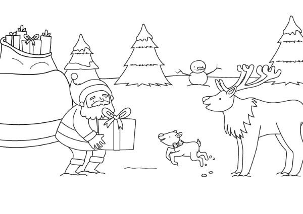 Papá Y Mamá Noel Dibujos Para Imprimir Y Colorear: Papá Noel Y El Reno Rodolfo: Dibujo Para Colorear E Imprimir