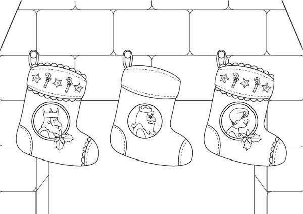Calcetines de Navidad de los Reyes Magos: dibujo para colorear e ...
