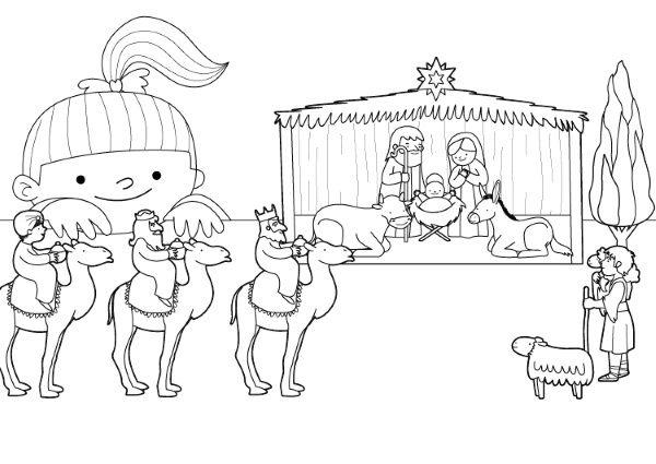 Imprimir bel n de navidad dibujo para imprimir y colorear - Dibujos de belenes ...