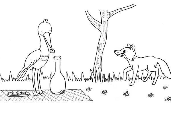 El zorro y la cigüeña: dibujo para colorear e imprimir
