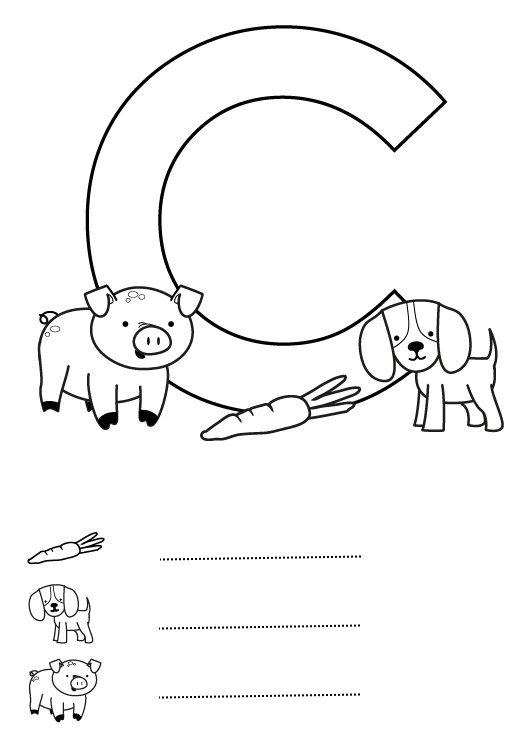 Letra C: dibujo para colorear e imprimir
