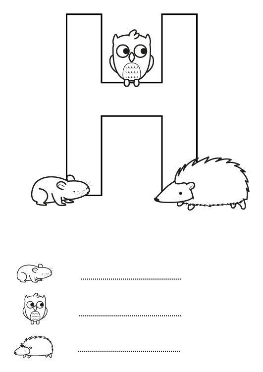 Letra H: dibujos para colorear e imprimir