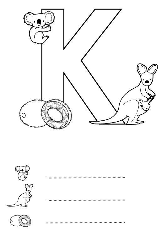 Letra K: dibujo para colorear e imprimir