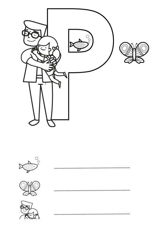 Letra P: dibujo para colorear e imprimir