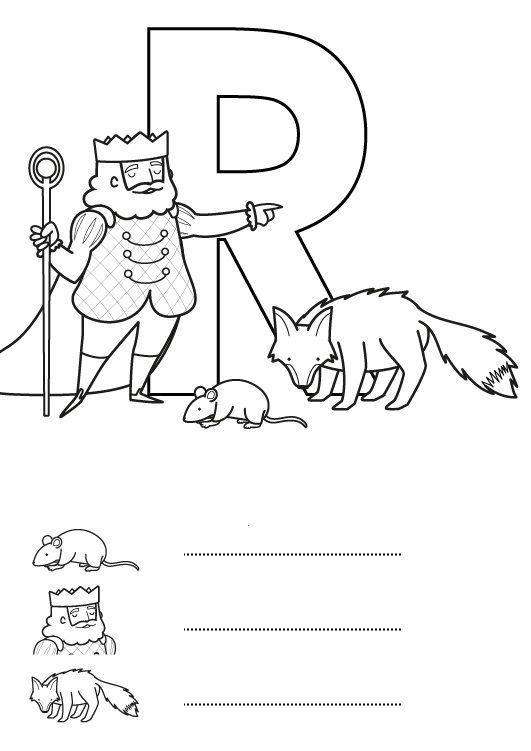 Letra R: dibujo para colorear e imprimir