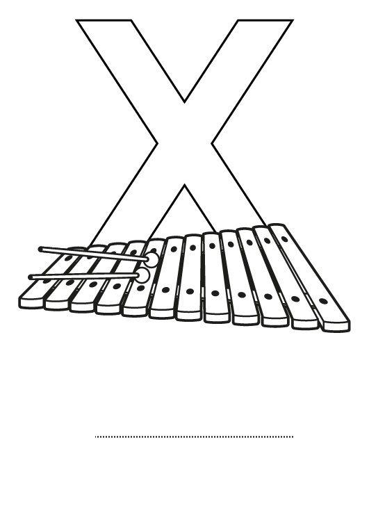 Letra X: dibujo para colorear e imprimir