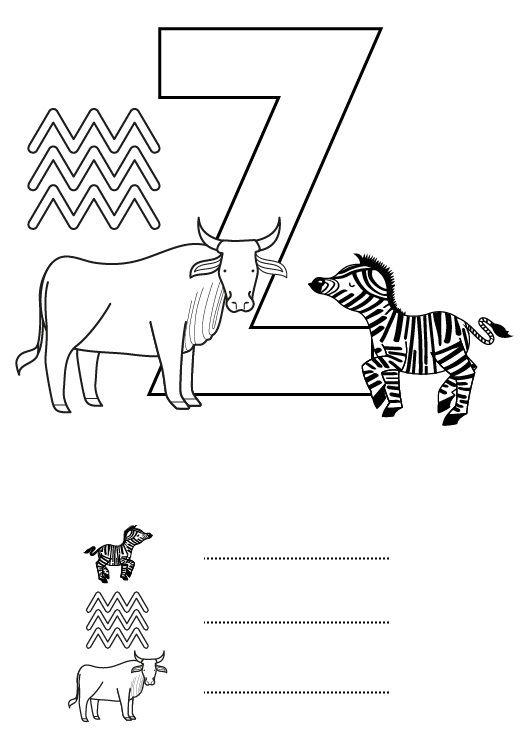 Letra Z: dibujo para colorear e imprimir