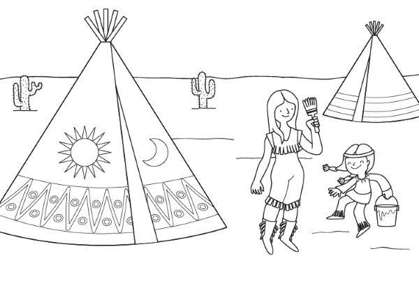 Indios Pintando Su Tipi Dibujo Para Colorear E Imprimir