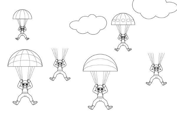 Paracaidistas en el cielo: dibujo para colorear e imprimir