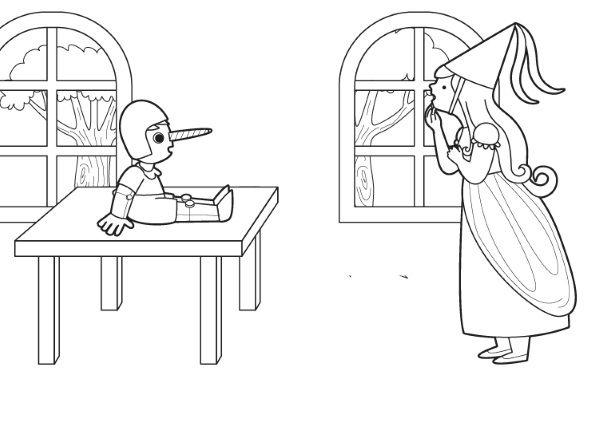 Pinocho y un hada: dibujo para colorear e imprimir