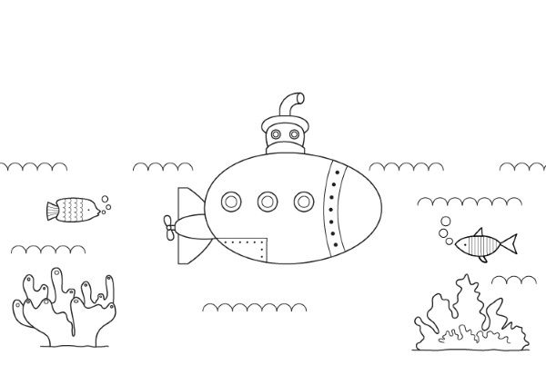 Submarino bajo el agua: dibujo para colorear e imprimir