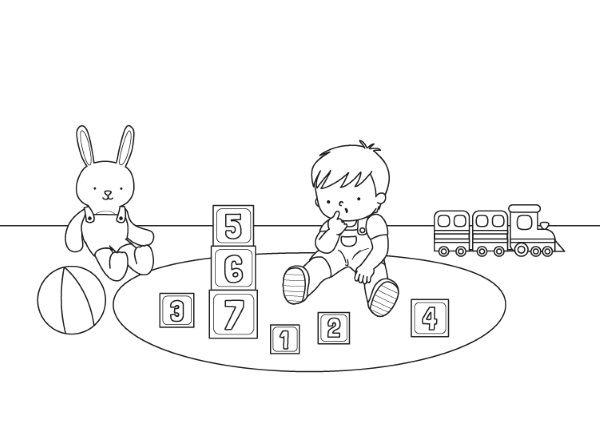 Bebé jugando: dibujo para colorear e imprimir