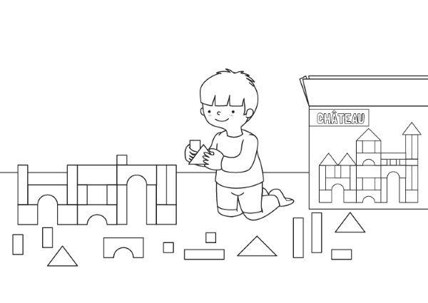 Niño jugando: dibujo para colorear e imprimir