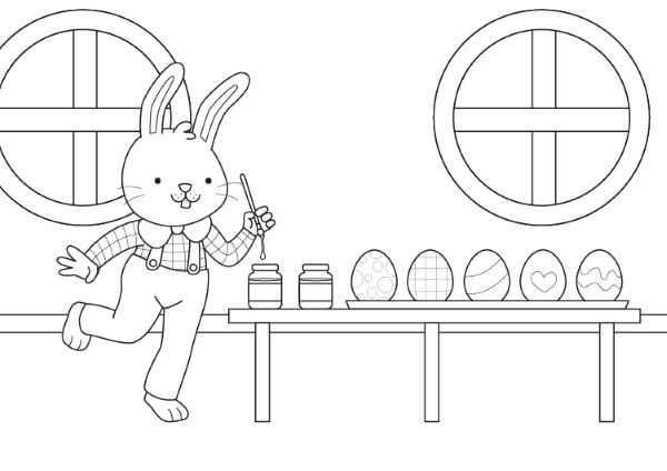 Conejito de Pascua: dibujo para colorear e imprimir