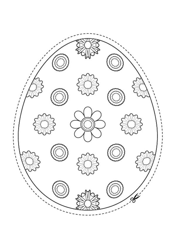 Huevo De Pascua De Flores Dibujo Para Colorear E Imprimir