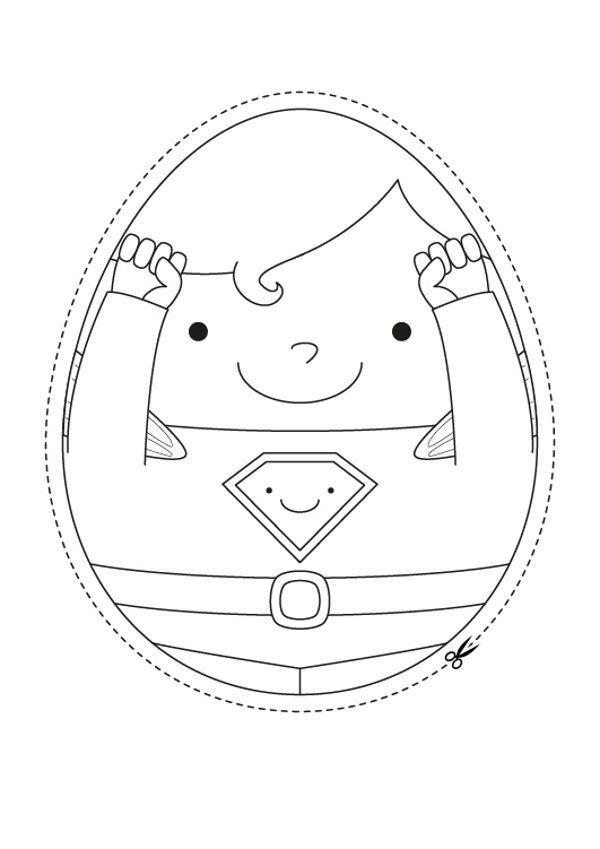 Superhuevo de Pascua: dibujo para colorear e imprimir