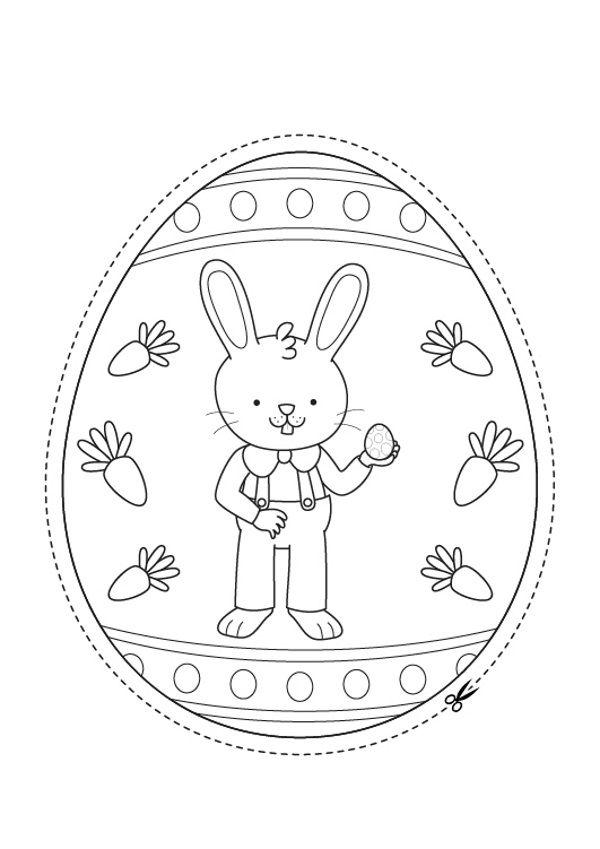 Huevo De Pascua Con Conejo De Pascua Dibujo Para Colorear Y Pintar