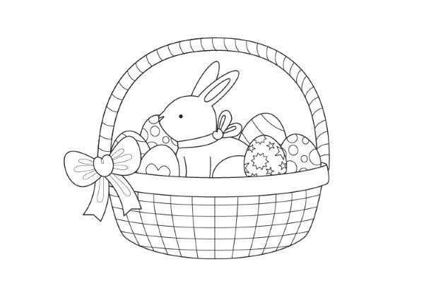 Cesta de Pascua: dibujo para colorear e imprimir