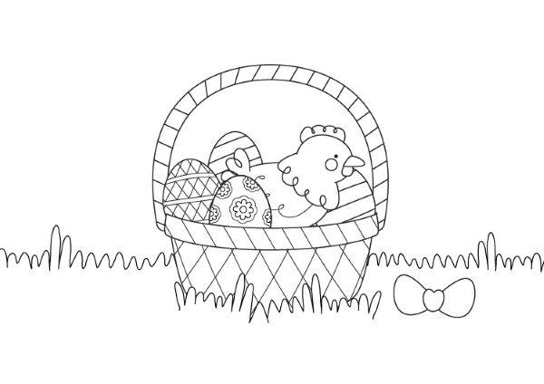 Cesta de Pascua con gallina: dibujo para colorear e imprimir
