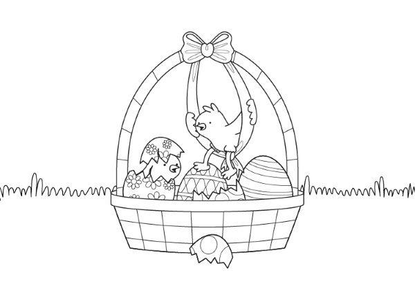 Cesta de Pascua con Pollitos: dibujo para colorear e imprimir