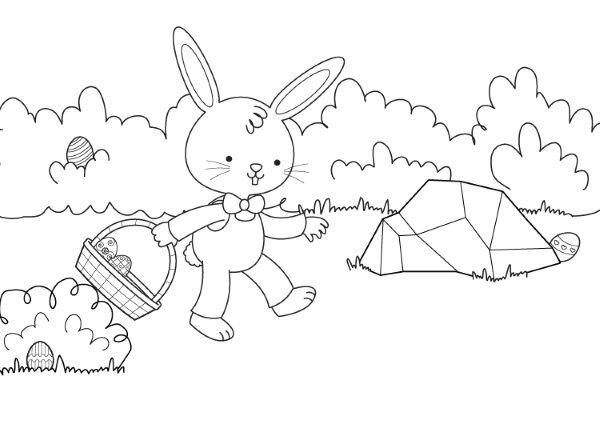 recogiendo huevos de Pascua dibujo para colorear e imprimir