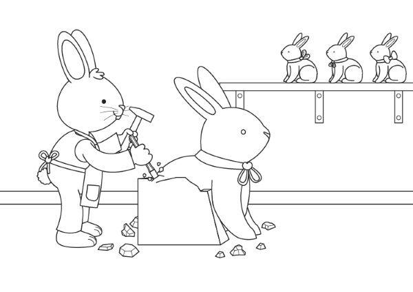 Conejo de Pascua escultor: dibujo para colorear e imprimir