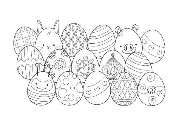 Conejo de Pascua escondido: dibujo para colorear e imprimir
