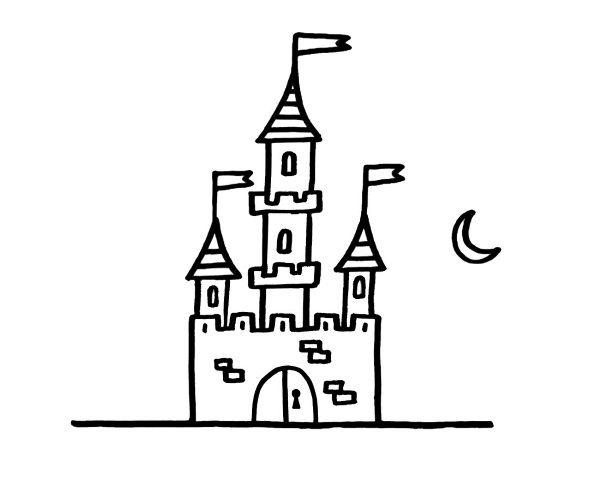 Dibujos De La Luna Para Colorear E Imprimir: Castillo Bajo La Luna: Dibujo Para Colorear E Imprimir