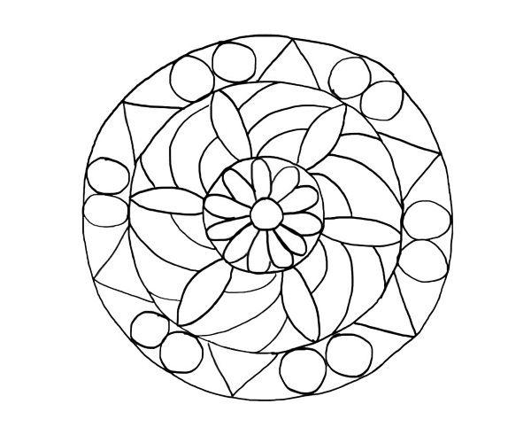 Mandala de flores: dibujo para colorear e imprimir