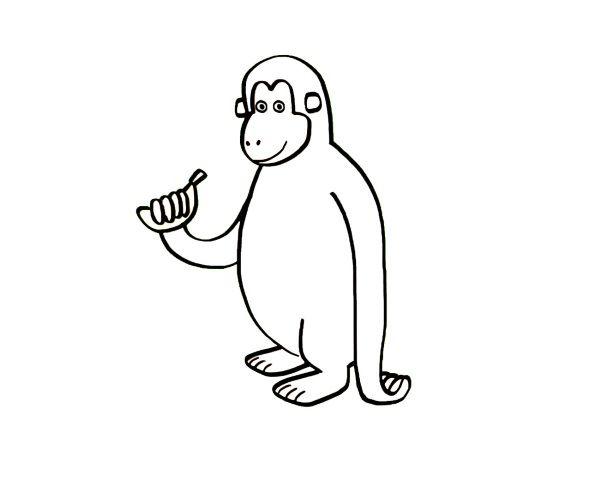 Mono con plátano: dibujo para colorear e imprimir