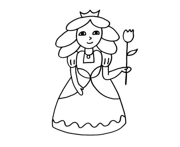 Dibujos De Principes Y Princesas Para Colorear: Imprimir: Princesa Con Flor: Dibujo Para Colorear E Imprimir