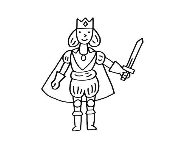 Dibujos De Principes Y Princesas Para Colorear: Imprimir: Príncipe Con Espada: Dibujo Para Colorear E Imprimir
