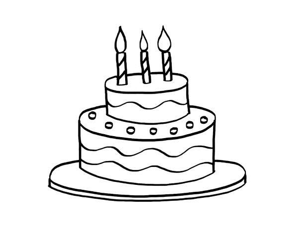Tarta de cumpleaños: dibujo para colorear e imprimir