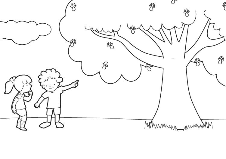 Imprimir: El árbol de los chupetes: dibujo para colorear e imprimir