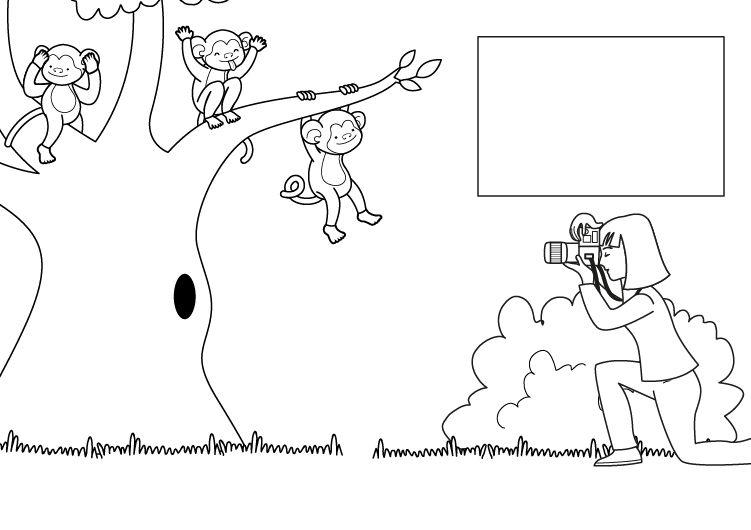 Foto de monos: dibujo para colorear e imprimir