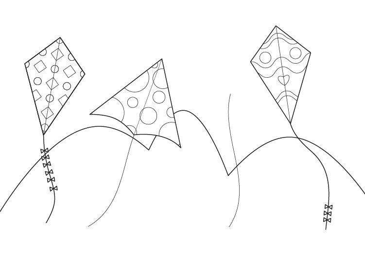 Concurso de cometas: dibujo para colorear e imprimir