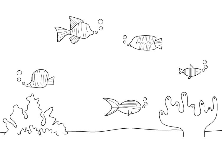 Peces de colores: dibujo para colorear e imprimir