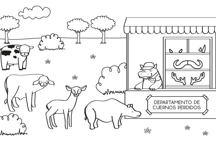 Animales buscando sus cuernos: dibujo para colorear e imprimir
